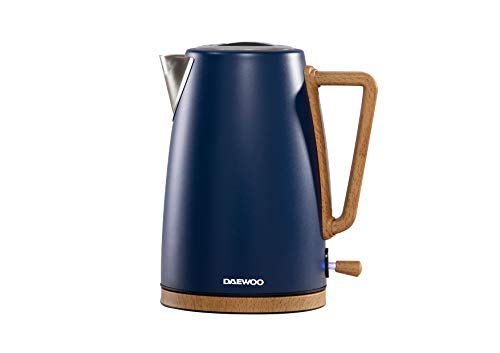 Daewoo SDA1953 Scandia 1.7L Stainless Steel Kettle (2500-3000W Power Output) Rapid Quiet Boil and Removable Washable Limescale Filter, 360º Rotational Base and Handy Cord Storage- Blue
