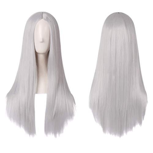 Charmante Mädchen lange silberne weiße gerade Perücke Mittelteil Haar Anime Cosplay Halloween Party Kostüm Perücken für Frauen