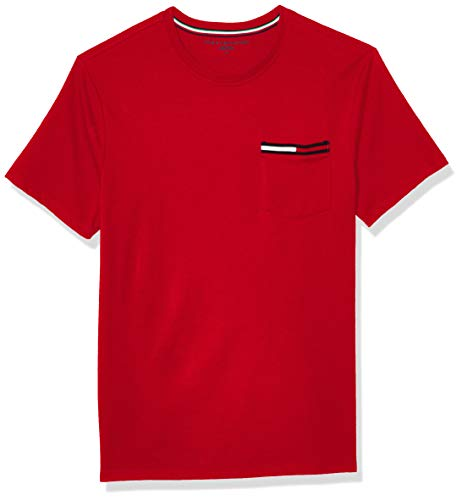 Tommy Hilfiger Men's Short Sleeve Crewneck T Shirt with Pocket, Sport Grey Heather, X-Large