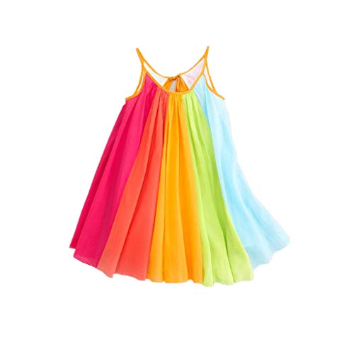Vectry Kinder Kleider, Kleinkind Baby Sommer Ärmellos Chiffon Kleid Mädchen Bunt Cami Prinzessin Kleidung Tutu Regenbogen Kleider