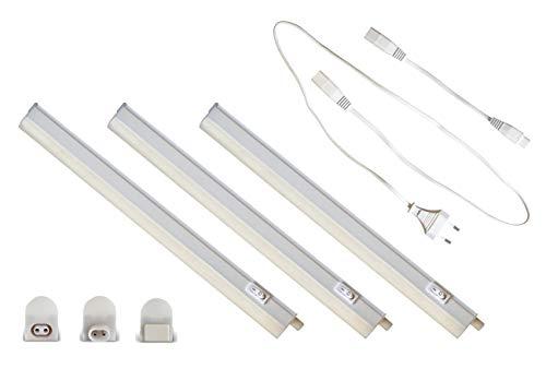 Juego de 3 lámparas LED para muebles (57 cm, 8000 lm, luz blanca neutra, 3 unidades de 8 W (60 cm)