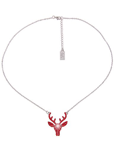 Leslii Damenkette Oktoberfest Glitzer Hirsch-Geweih Collier Dirndl kurze Halskette Modeschmuck-Kette 40cm in Silber Rot