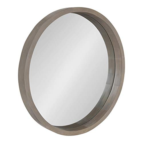 Kate and Laurel Hutton Round Decorative Modern Wood Frame Wall Mirror, 22 Inch Diameter, Graywash Finish