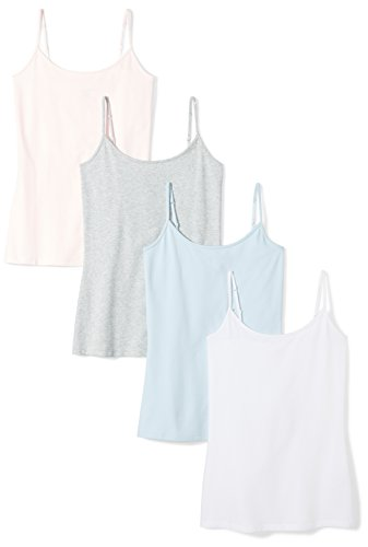 Amazon Essentials Women's 4-Pack Slim-Fit Camisole, Light Grey Heather/White/Light Pink/Light Blue, XX-Large