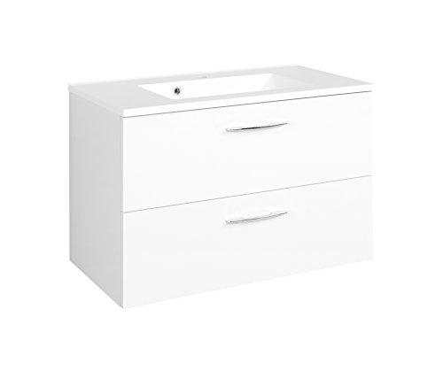 Held Möbel Portofino Waschtisch, Holzwerkstoff, Weiß, 48 x 80 x 54 cm