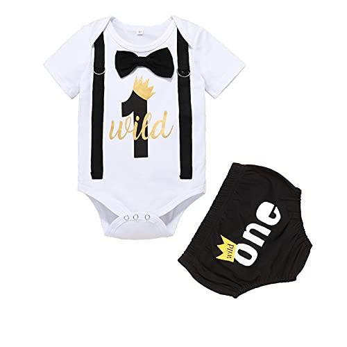 Wexuua Conjunto de ropa para bebé, niño, verano, 1 año, para cumpleaños, con pajarita, body de manga corta y pantalones cortos, disfraz para sesión de fotos, Negro , 12-18 Meses