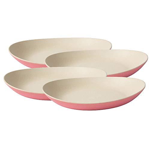 BIOZOYG Hochwertiges Bambus Teller Set I Kinderteller Kuchenteller Snackschale Servierteller I Bio Bambus Geschirr I 4 x ovale Speiseteller Melamin Natur weiß/rosa, 25 x 21 cm