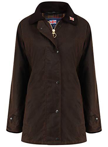 Nicky Adams Countrywear Damen Wachsjacke, wasserdichte gewachste Baumwolle, Reitsport mit Belüftungsöffnungen Gr. 40, braun