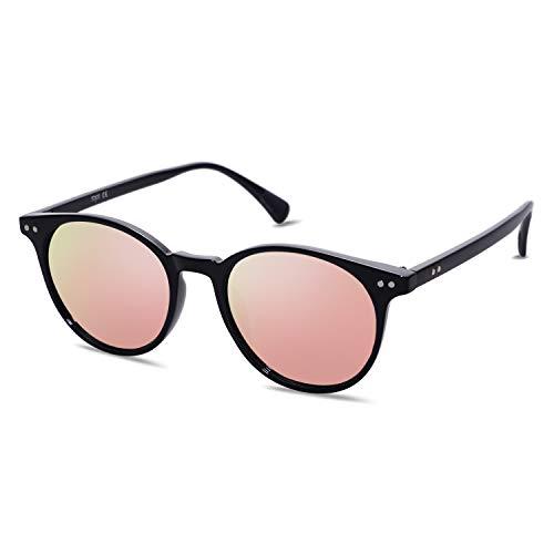 SOJOS Damen Herren Sonnenbrille Polarisiert Brille UV400 Schutz Vintage Runde Kleine für Schmales Gesicht SJ2113 mit Schwarzer Rahmen/Rosa Verspiegelte Linse