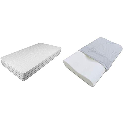 Baldiflex Easy 2.0 in Memory Foam Materasso Memoria, Poliuretano, Bianco, 120x190x22cm + Baldiflex - Cuscino in Memory Foam - Modello Ortocervicale - Fodera in Silver Safe