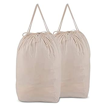 MCleanPin Washable Laundry Bags with Handles,Dirty Clothes Storage for College Dorm or Travel Laundry Liner ,2 Pack  Beige