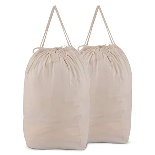 MCleanPin Washable Laundry Bags with Handles,Dirty Clothes Storage for College Dorm or Travel, Laundry Liner for Laundry Hamper or Basket,2 Pack (Beige)