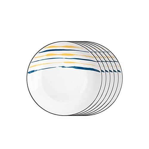 Vajilla Completa Placas de cena de cerámica Conjunto de 6, platos de 8 pulgadas Conjunto Placas de servicio redondas para Pasta Bistec Apple Placas Microondas Horno y lavavajillas Caja fuerte Vajilla