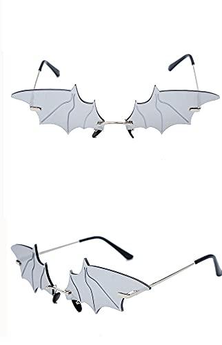 ASZX Gafas de Sol Frescas de la decoración de murciélagos de murciélagos pequeños Gafas de sombrilla Personalidad Personalidad 622 (Frame Color : Gold, Size : Silver)