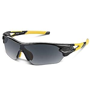 スポーツサングラス 偏光レンズ 自転車 登山 釣り 野球 ゴルフ ランニング ドライブ バイク テニス スキー 超軽量 UV400 TAC TR90 紫外線防止 メンズ レディース ユニセックス サングラス 安全 清晰 (イエロー&ブラック)