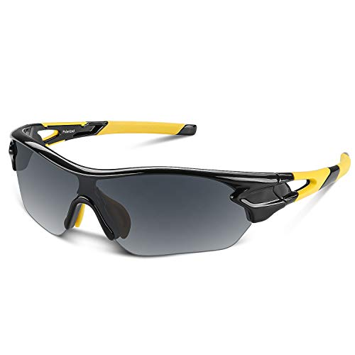 Polarized Sports Sunglasses for Men Women Youth Baseball Cycling Running Driving Fishing Golf Motorcycle TAC Glasses UV400 (Black Yellow)