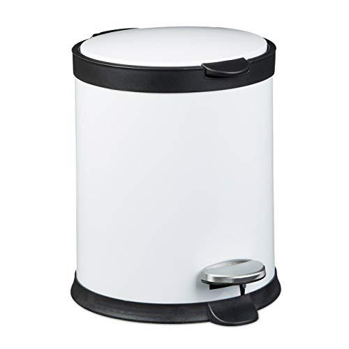 Relaxdays Poubelle ronde à pédale 5 litres Seau amovible vide-ordures avec couvercle en métal optique inox pour la cuisine et la salle de bain Blanc 27,5 x 23 cm