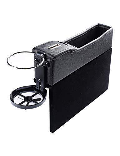 Autositztasche Autositz Side Gap Filler Auto Catcher Seitentasche Organizer Seat Crevice Slit Pockets für auto - mit Münz Organizer und Getränkehalter Premium-PU-Leder SPDYCESS