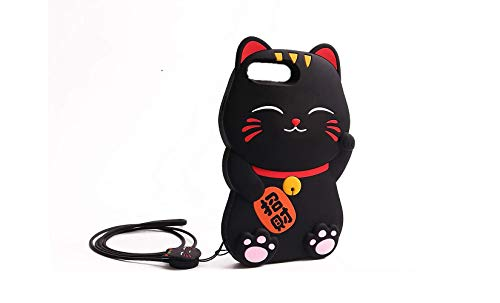 AdorbsMe Fortune Cat Phone Case for iPhone SE 2020 - Cute Silicone 3D Cartoon Animal Shockproof Cover with Silicone Lanyard (Black)