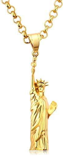 ZGYFJCH Co.,ltd Collar con Colgante de Estatua de la Libertad rebelde Americano, Collar de Acero Inoxidable de Color Dorado, Cadena para Hombres Mujeres, símbolo de EE. UU, Joyería, Regalos