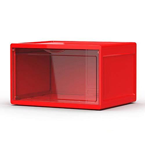MHIBAX Caja De Zapatos Caja De Almacenamiento De Zapatillas Zapato Transparente Plástico Zapatero Pared Lateral Abierto Magnético 36x28x22cm 2 Rojas