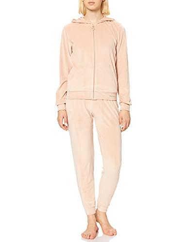 Emporio Armani Underwear Shiny Velvet Chaqueta + pantalón con Cremallera Completa, Almond, XS De Las Mujeres