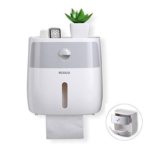Meiyijia Toilettenpapierhalter ohne Bohren, 3M selbstklebend, Wandhalterung Toilettenpapierhalter,Mit wasserdichter und staubdichter Abdeckung+Aufbewahrungsbox
