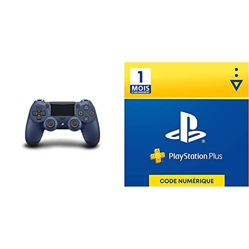 Manette DualShock 4 V2 pour PS4 - Midnight Blue & Sony PlayStation Plus, Carte d'abonnement de 1 mois, Code jeu à télécharger, Compte français