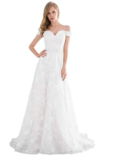 Lover Kiss Women White Lace Beach Wedding Dresses Bride 2020 Off Shoulder A Line Beaded Long Bridal Party Gown