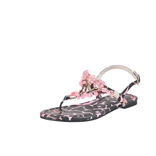 Buffalo Damen Zehentrenner Rebecca, Damen Sandalen,zehenstegsandalen,flip,Flops,Sandaletten,bequem,Sommer,Mehrfarbig (Animal Print),37 EU / 4 UK
