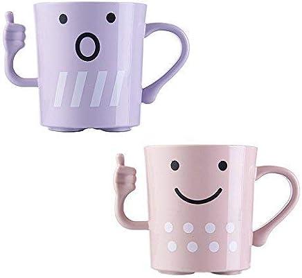 Preisvergleich für Crivers Tasse oder Zahnputzbecher, niedliches Cartoon-Design, mit einzigartiger Daumen-Hoch-Form, für Kinder oder Paare Pink+purple