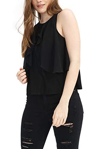 trueprodigy Casual Mujer Marca Camiseta de Tirantes Basico Ropa Retro Vintage Rock Vestir Moda Cuello Redondo Sin Manga Slim Fit Designer Fashion Top Blusa, Colores:Black, Tamaño:XS