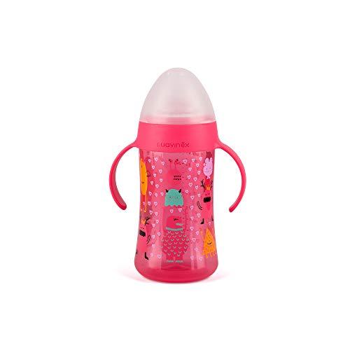 Suavinex - Biberón Antiderrame BOOO 270ml. Biberón Con Asas Para Bebé. Boquilla de Silicon. +4 Meses, Color Rosa