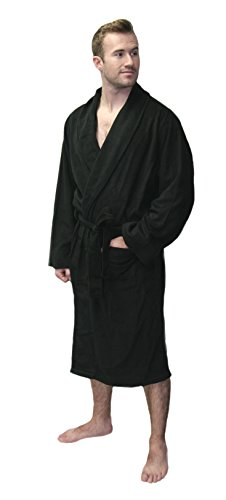 Fruit of the Loom Men's Plush Bath Robes (One Size, Black)