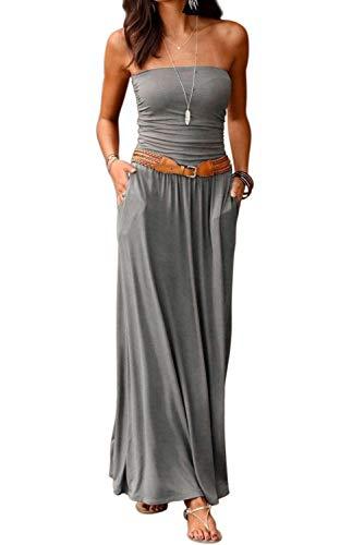 Ancapelion Damen Blumenmuster Maxikleid Langes Kleider Bandeau Kleid Böhmen Sommerkleid Trägerloses Strandkleid Elegante Abendkleid (Einfarbig-Grau, S)