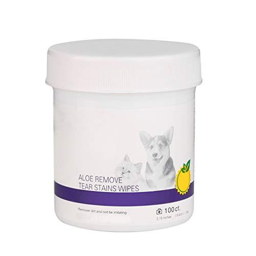 VEED 100 Piezas toallitas húmedas para Ojos de Mascotas Gato Perro lágrima quitamanchas toallitas de Limpieza Toallas de Papel de Aseo