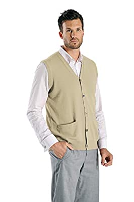 Cashmere Boutique: Men's 100% Pure Cashmere Sleeveless Cardigan Vest Sweater (Color: Camel Brown, Size: Medium) from