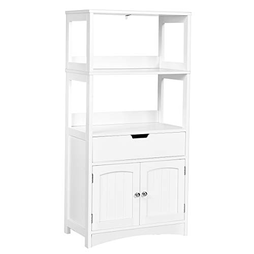Tangkula Bathroom Floor Cabinet with Drawer, 2 Open Shelves and Door Cupboard, Multipurpose Free Standing Storage Cabinet for Bathroom Kitchen Living Room, 24 x 13 x 48 inch (White)