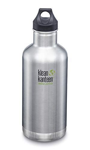 Klean Kanteen Classic Stainless Steel Double Wall Insulated Water Bottle with Loop Cap, 32-Ounce, Brushed Stainless