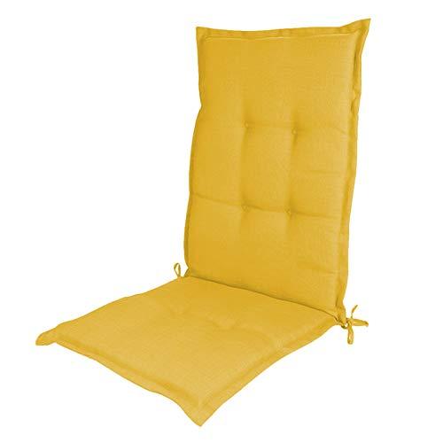 DASND 120 * 50 cm Silla de jardín con Respaldo Alto Cojín Antideslizante Esponja Core Cojín de llenado Cojín Trasero Alto Cojín sin Silla (Color : Yellow)
