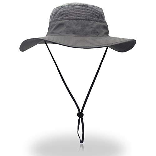 QingFang Wide Brim Sun Hat Mesh Bucket Hat Lightweight Bonnie Hat Perfect for Outdoor Activities Grey