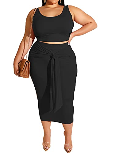 Plus Size Women 2 Piece Outfits Sets Summer Sexy Tracksuit Midi Dress,Sleeveless Tank Top Bodycon Skirts Set Casual Black XL