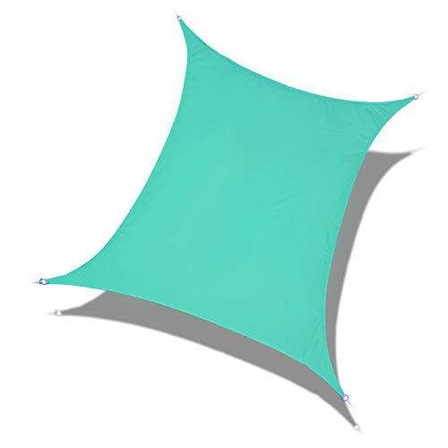 Laxllent Toldo Vela de Sombra Rectangular 2.4x3m Azul Turquesa,Protección Rayos UV,Impermeable y Resistente, para Patio Jardín Balcón,con Cuerda