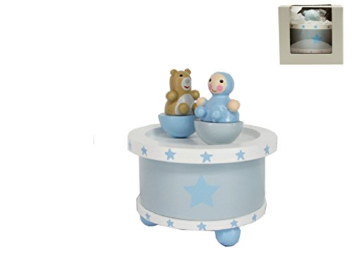 Chichi Gifts Séba Gifts Gisela Graham étoiles rotatifs bébé Boîte à musique avec ours en peluche – Bleu
