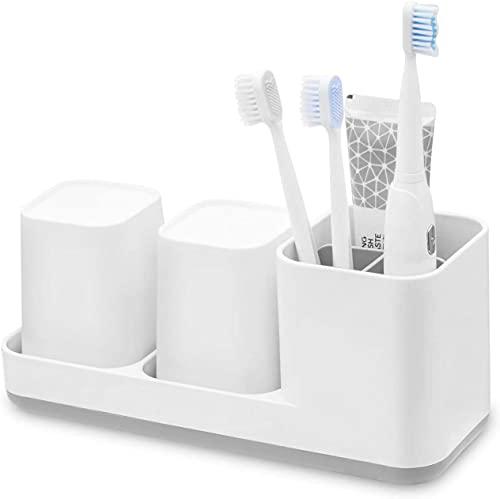 Lakifmo Porta spazzolino Elettrico, Portaspazzolino per Bagno, Porta Dentifricio, 2 Tazza Spazzolini da Denti, Plastica - Bianco