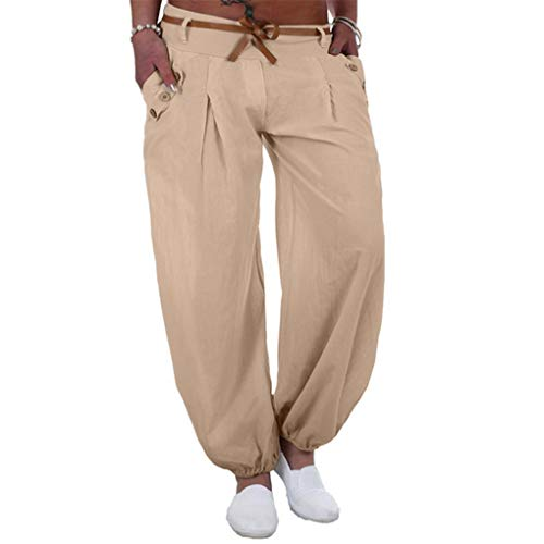 Haremshose Dorical Damen Pumphose Lange Elegant Leinen Hose,Yogahosen,Freizeithose,Stoffhose leicht,Pumphose zum Tanzen,Sommerhose,Lose Pants mit Gürtel,8 Farben S-5XL (80% (Beige,L2)