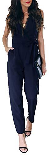 Longwu Tuta da Donna a Vita Alta con Scollo a V in Pizzo e Maniche Lunghe con Cintura Blu Navy-XL