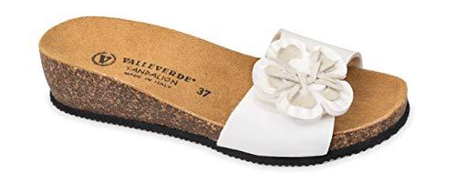 Valleverde Ciabatta Donna camoscio G51209 Bianco Una Calzatura Comoda Adatta per Tutte Le Occasioni. Primavera Estate 2020. EU 40