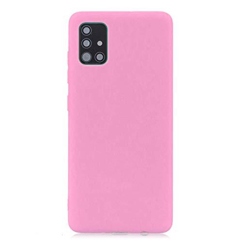 cuzz Funda para Samsung Galaxy A51+{Protector de Pantalla de Vidrio Templado} Carcasa Silicona Suave Gel Rasguño y Resistente Teléfono Móvil Cover-Rosa Oscuro