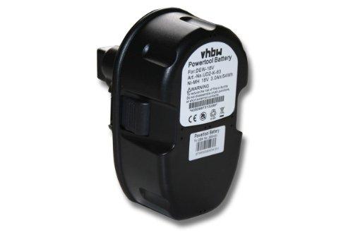 vhbw Batería recargable compatible con Dewalt DW987KQ, DW988, DW988KQ, DW989, DW995, DW997, DW997K-2 herramientas eléctricas (3.000 mAh NiMH 18 V)